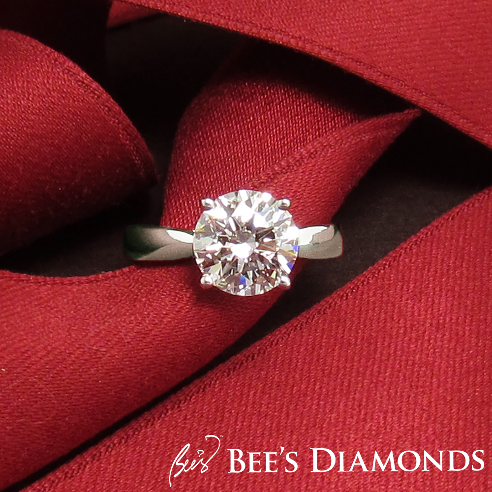 Four prongs simple elegant diamond engagement ring | Bee's Diamonds
