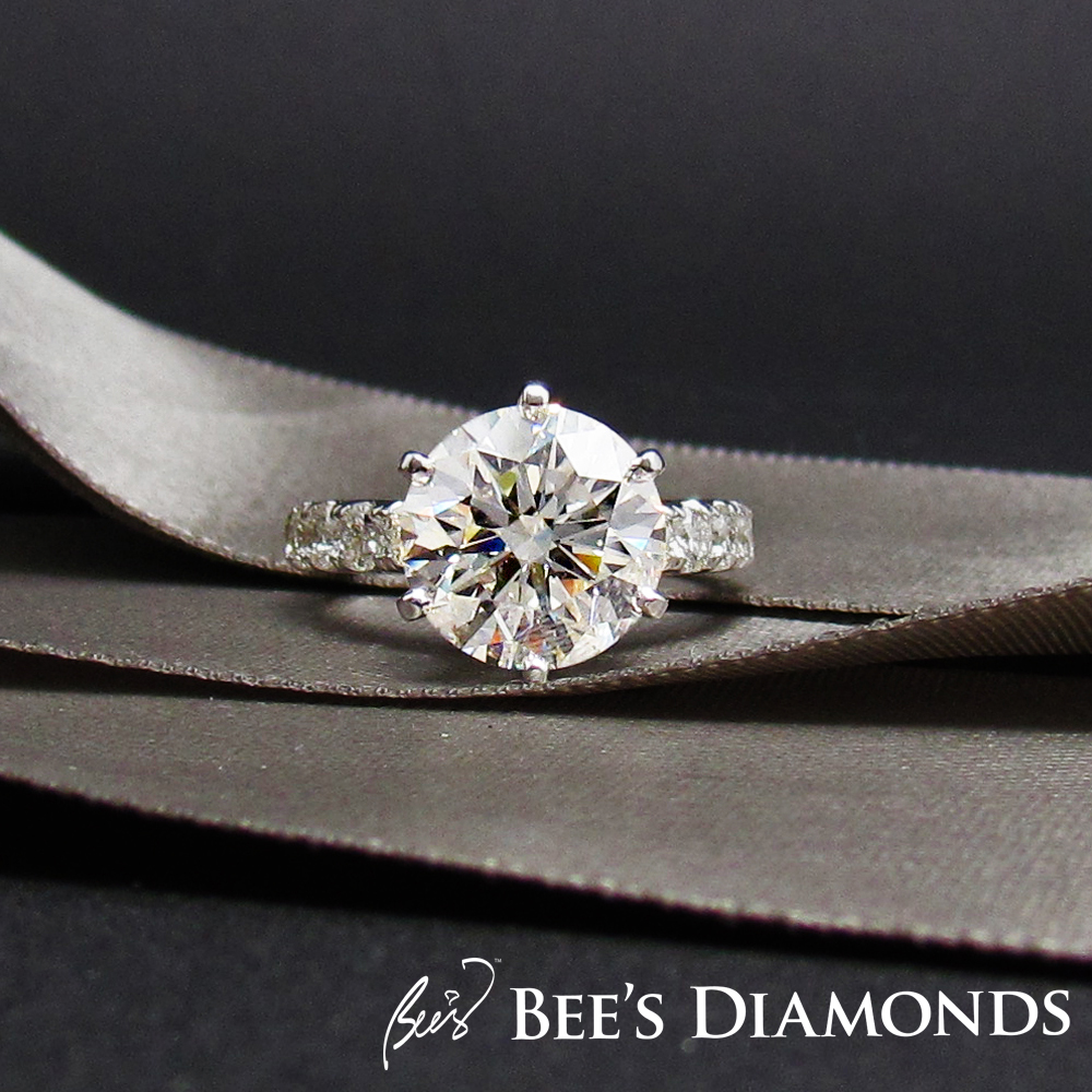 5 carats diamond engagement ring | GIA certified pave setting