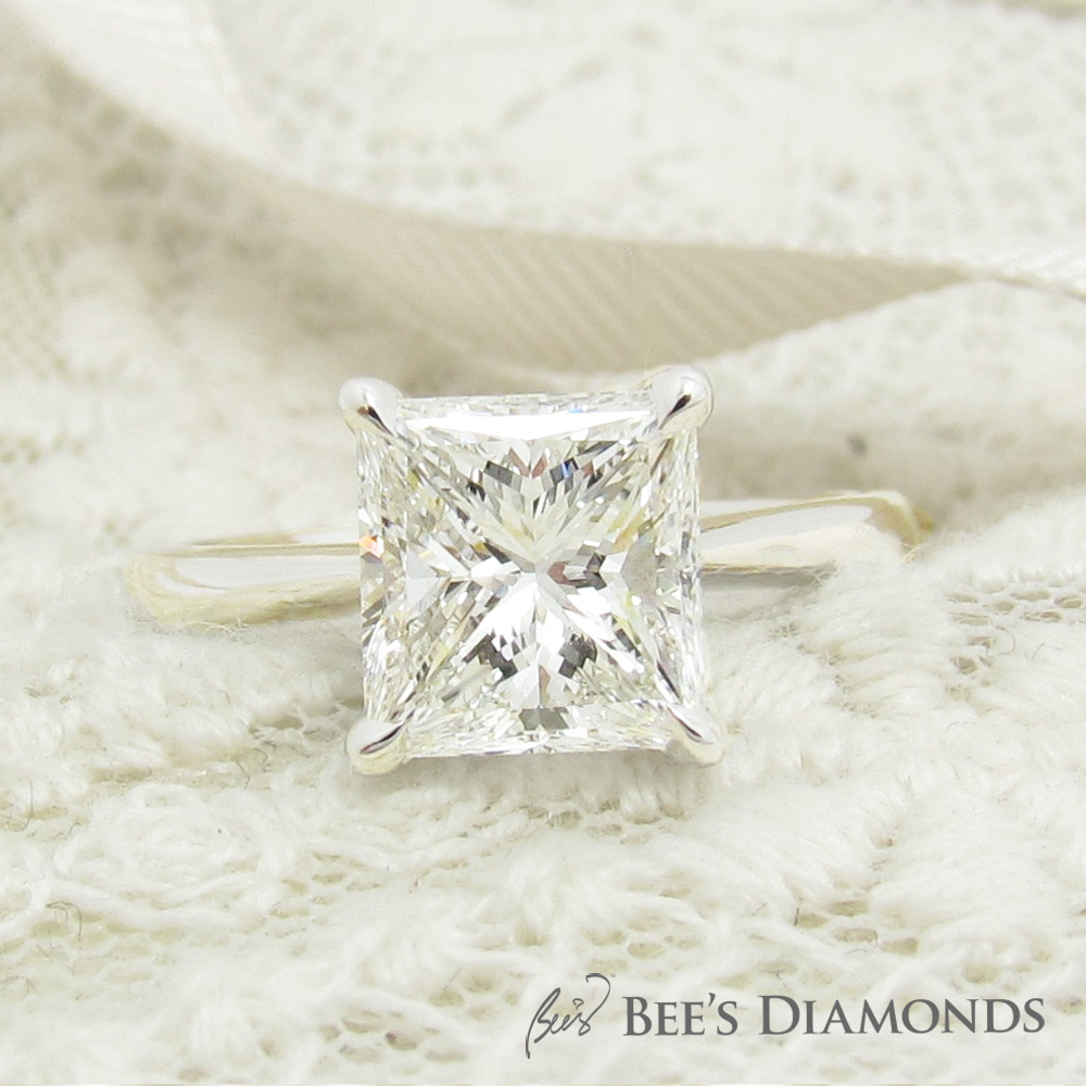 Princess cut solitaire custom made diamond engagement ring