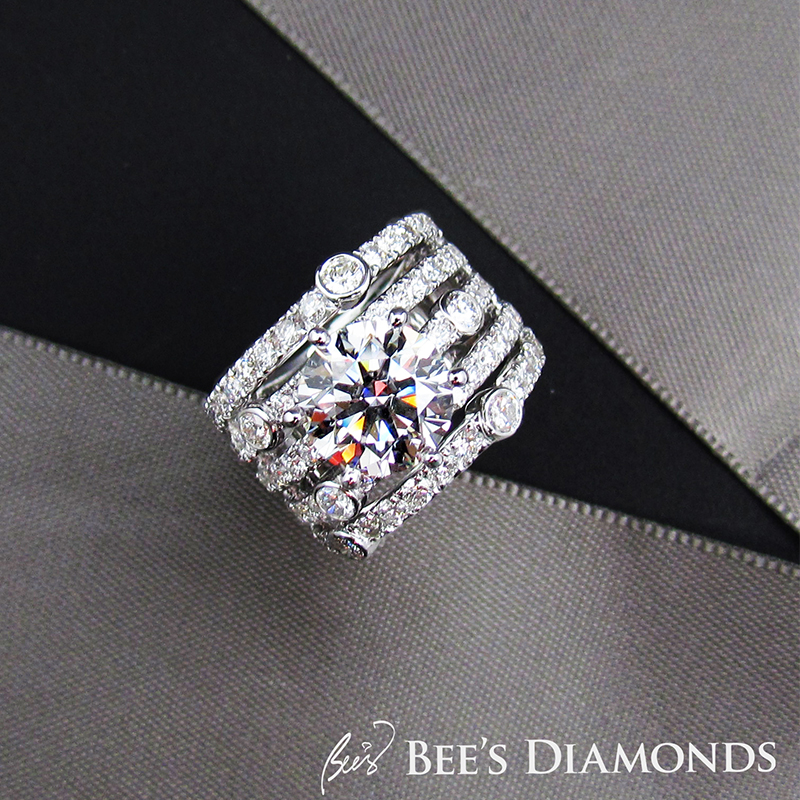 3 carats diamond ring | 5 rows of diamonds | Bee's Diamonds