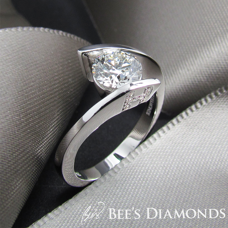 Personalized, twisted band diamond engagement ring | Initials on the side