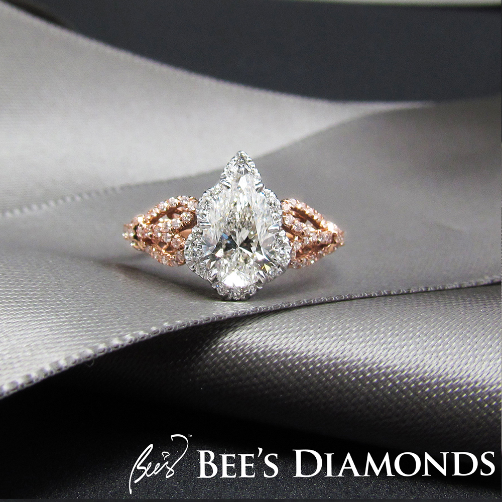 18K white and rose gold bespoke engagement ring | Bee's Diamonds