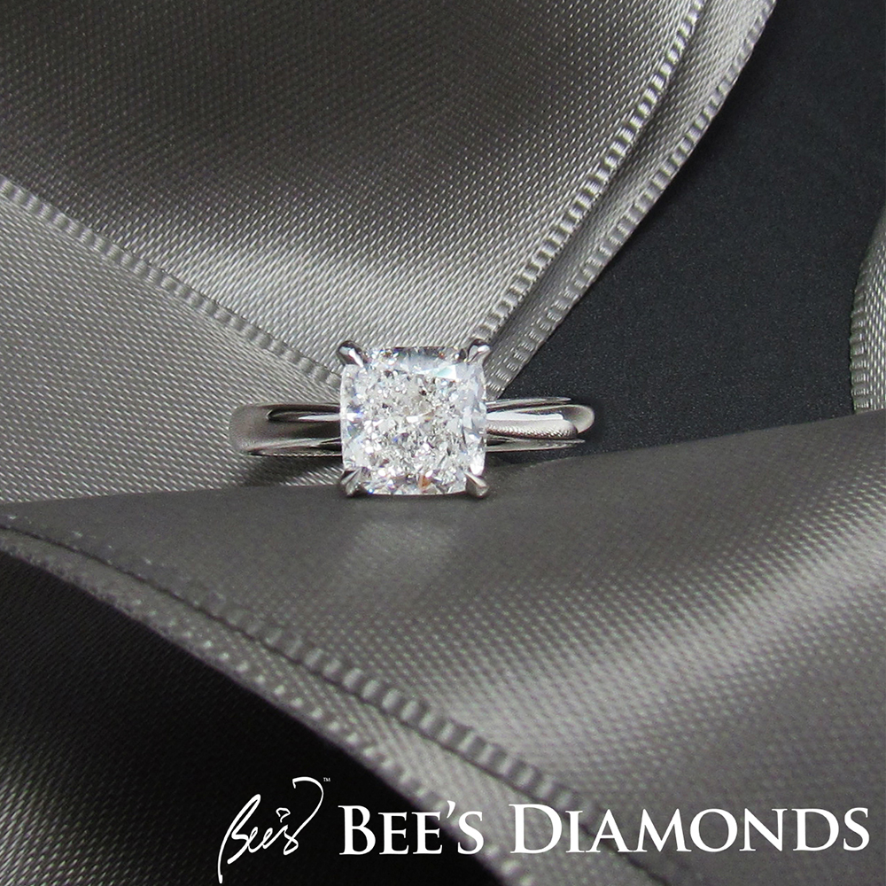 Cushion shape solitaire engagement ring | Four prongs