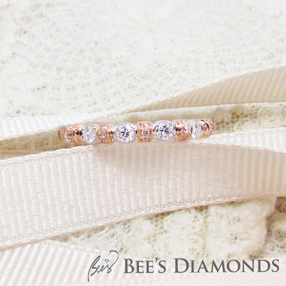 Rose gold combine with white gold, pink diamonds, wedding band
