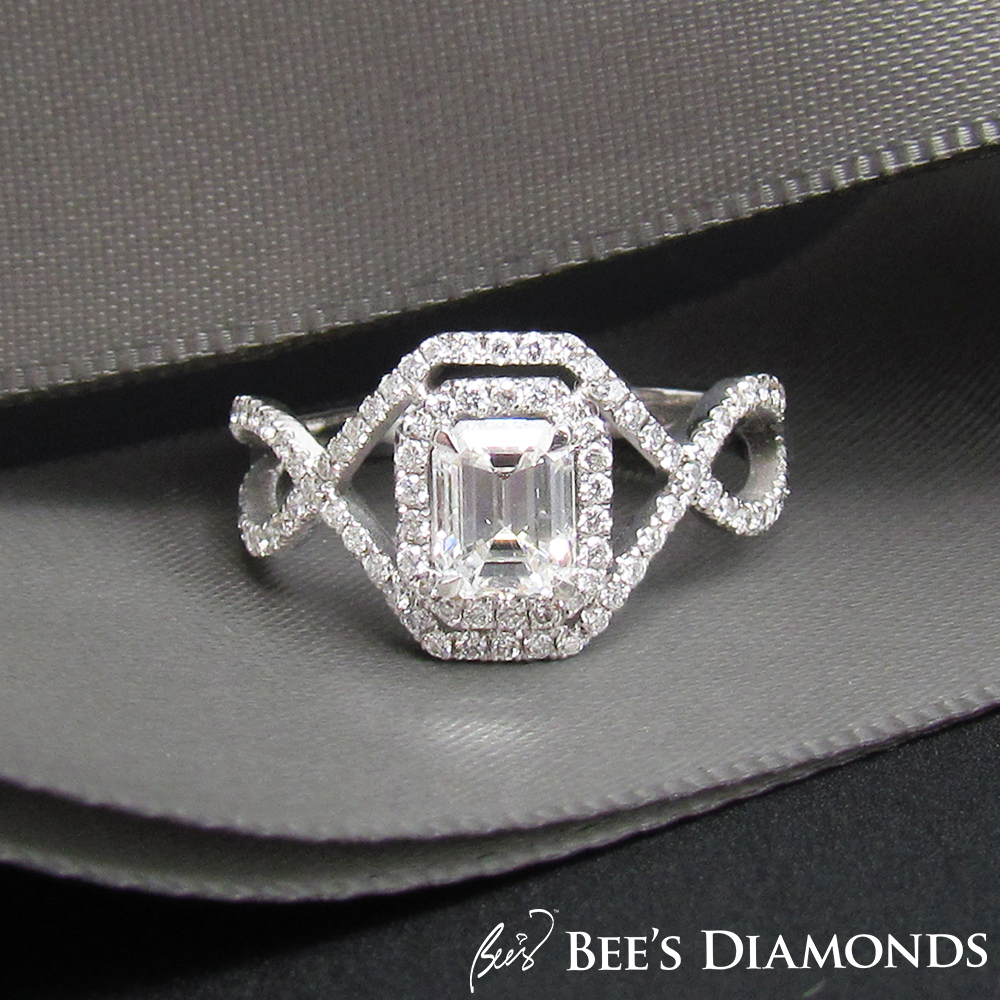 Hand-braided diamond engagement ring | Emerald cut solitaire ring