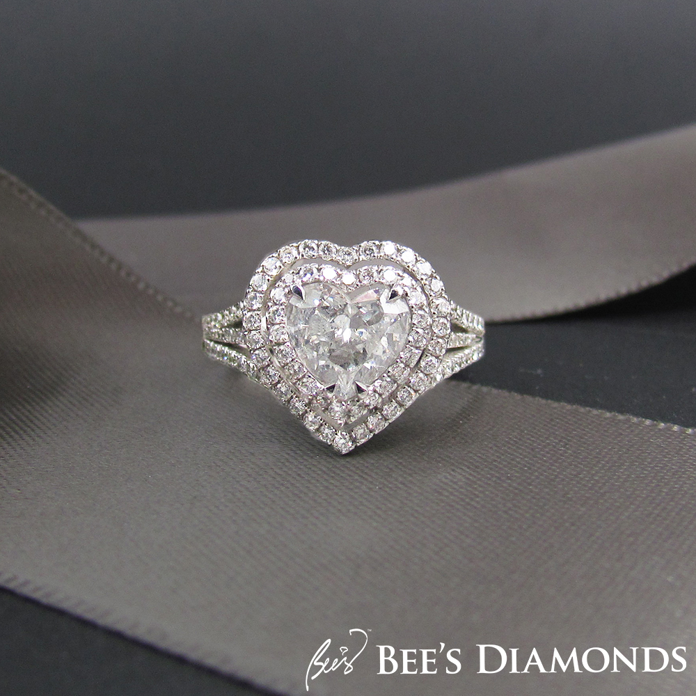 3 carats heart shape diamond ring with two halos of diamonds