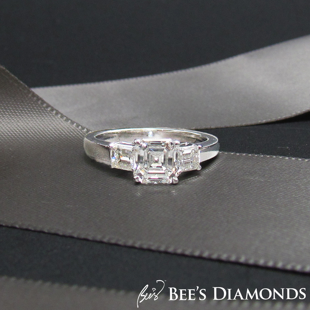 Asscher cut, three stones diamond engagement ring | Hong Kong