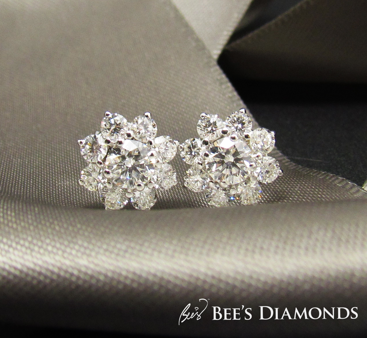 Floral solitaire diamond stud earrings | Bee's Diamonds