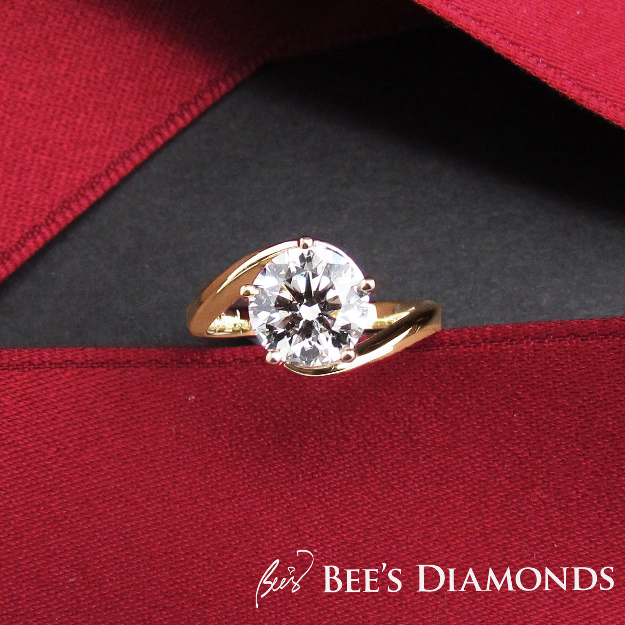 Five prongs diamond engagement ring | Rose gold | Bee's Diamonds