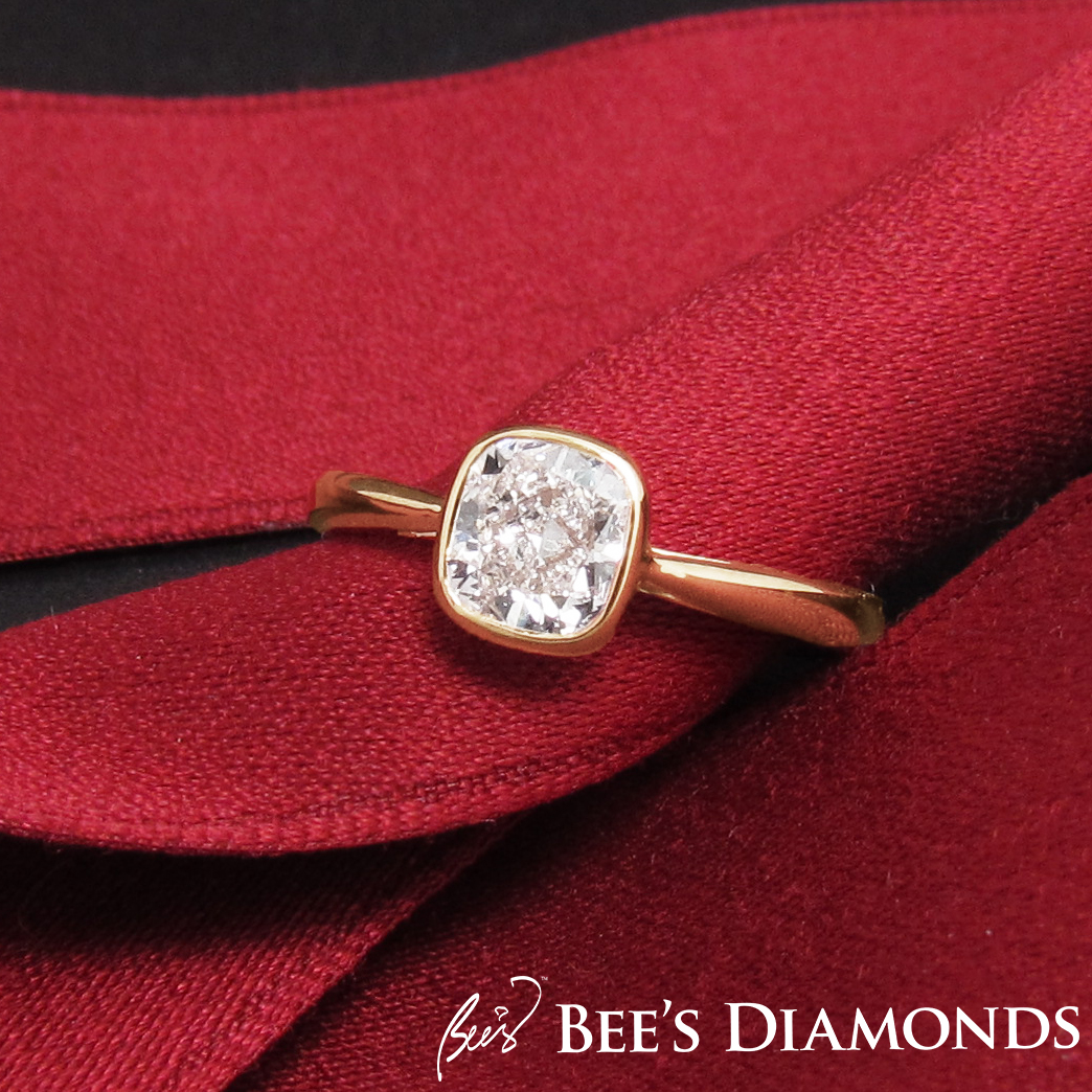 Bezel set cushion cut diamond engagement ring | Bee's Diamonds
