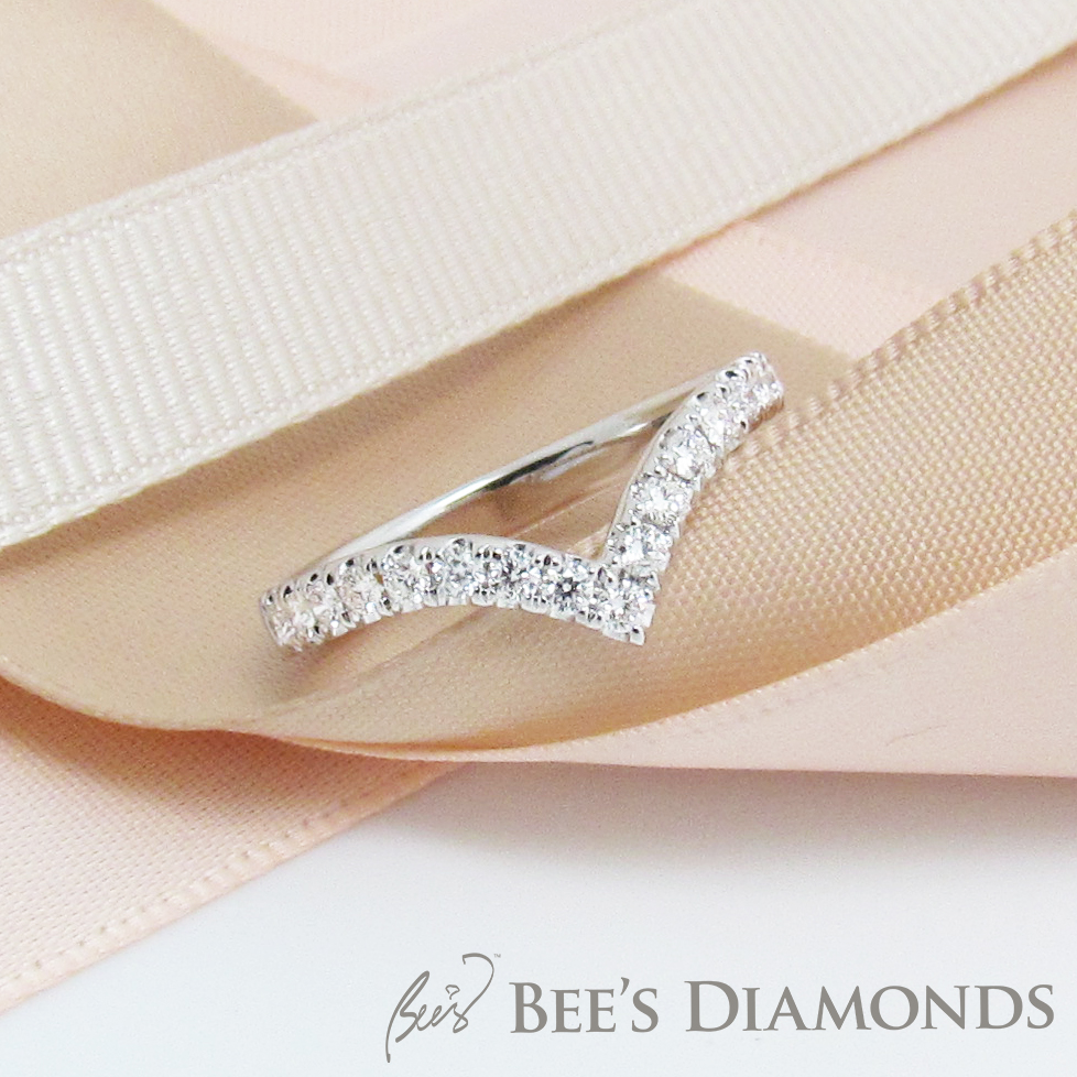 Tiffany, V shape, tippy diamond wedding band | Bee's Diamonds