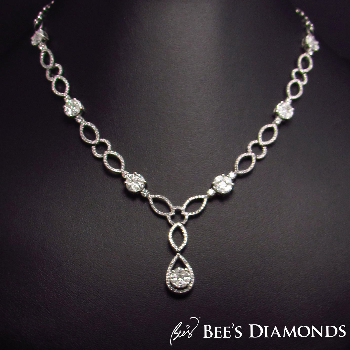 Diamond bell shaped necklace, bridal jewelry, Bee's Diamonds