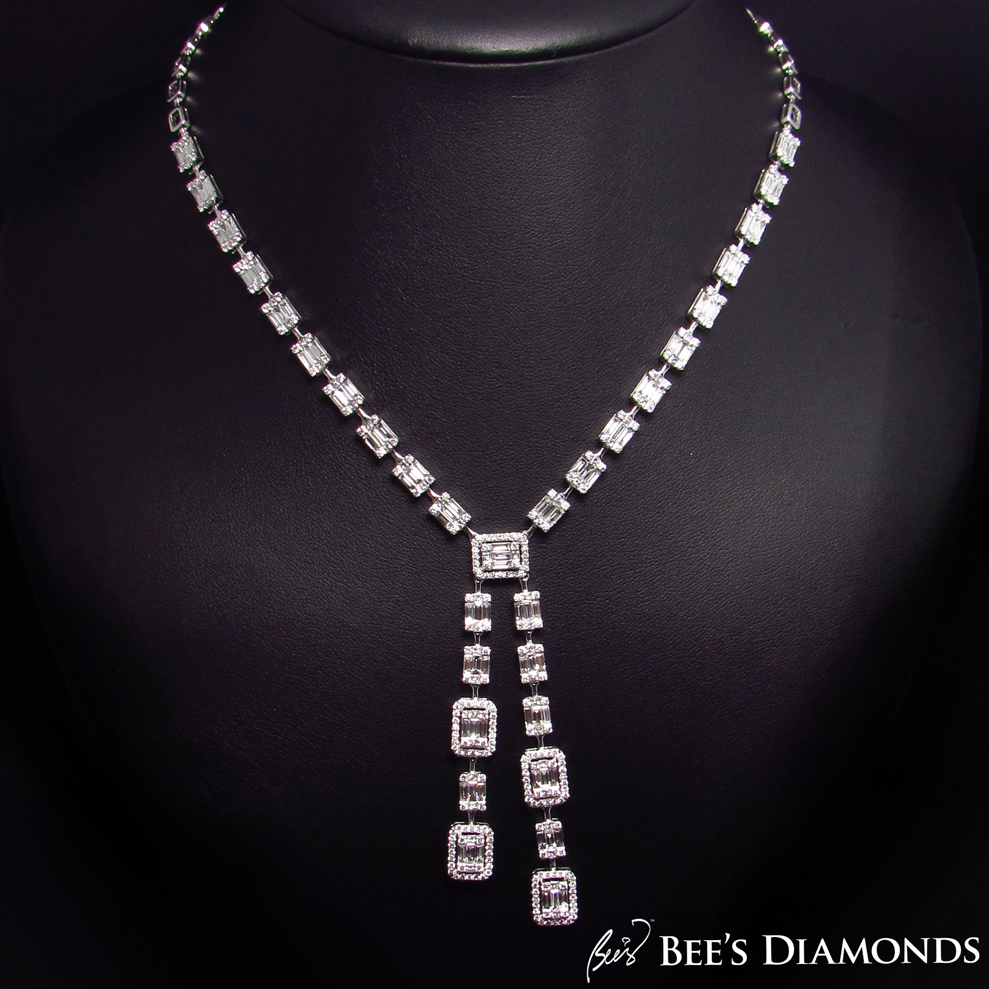 Invisible setting, rectangle diamond necklace | Bee's Diamonds