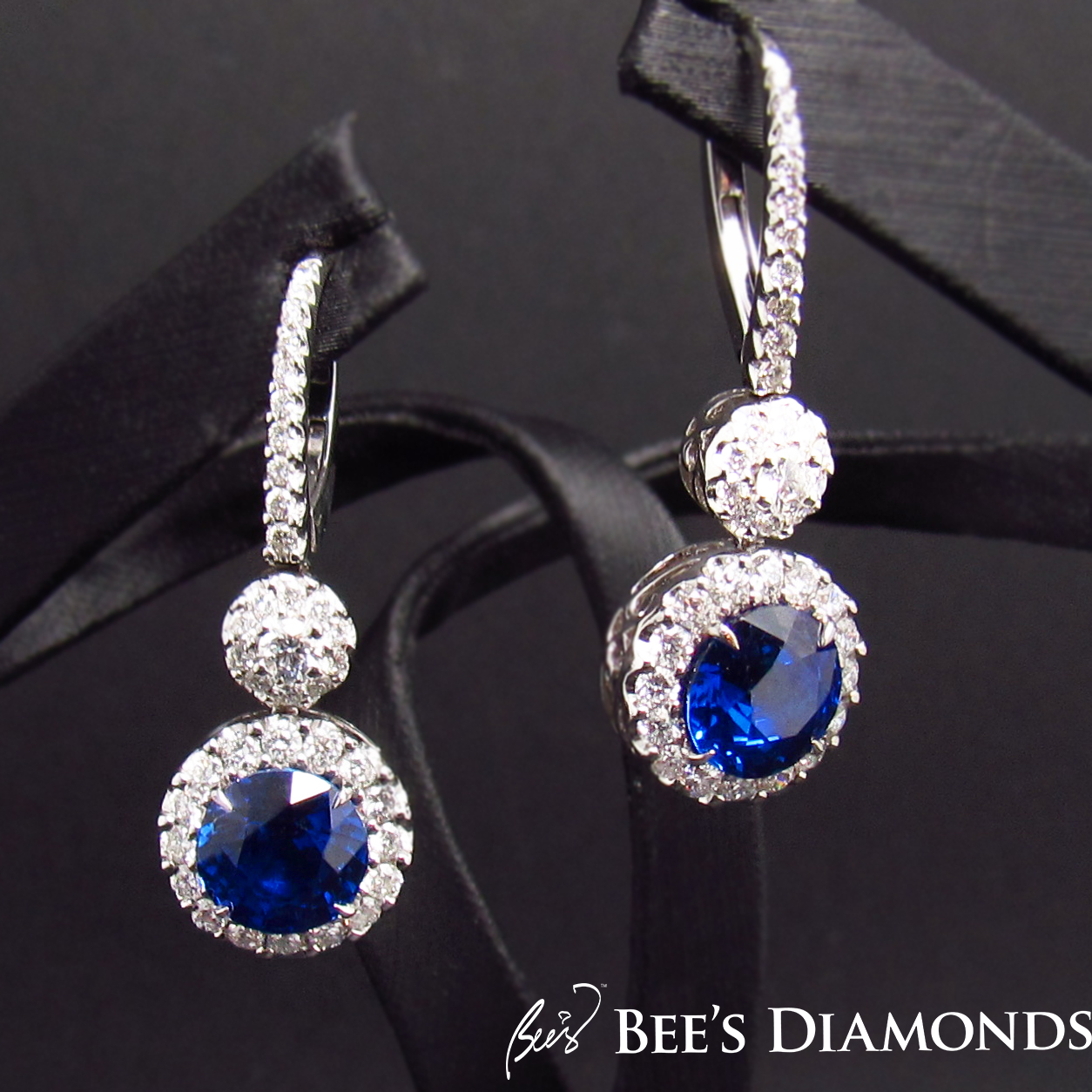 Round sapphire diamond earrings, custom made every day jewels