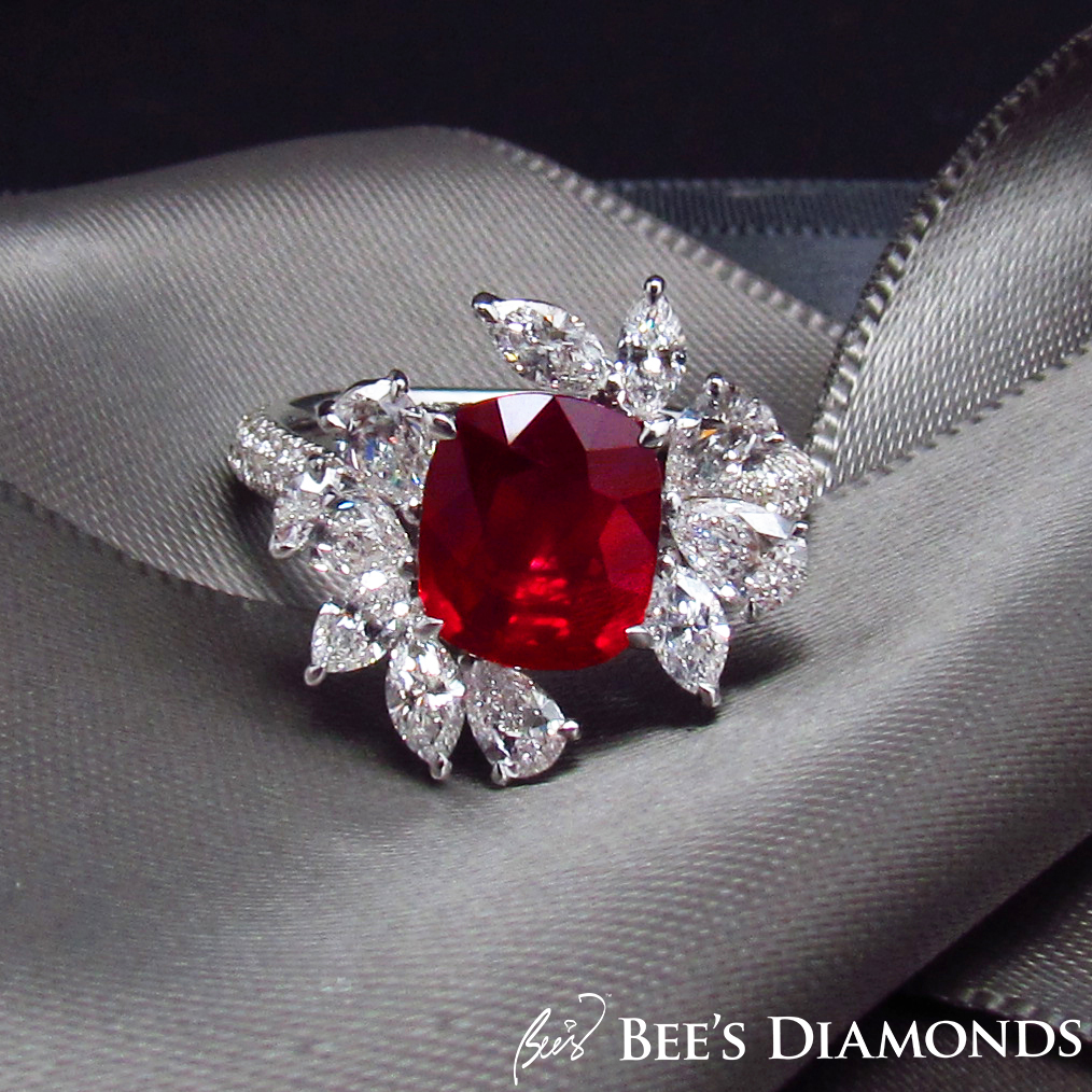 Cushion mozambique ruby, pigeon blood, diamond ring | Bee's Diamonds
