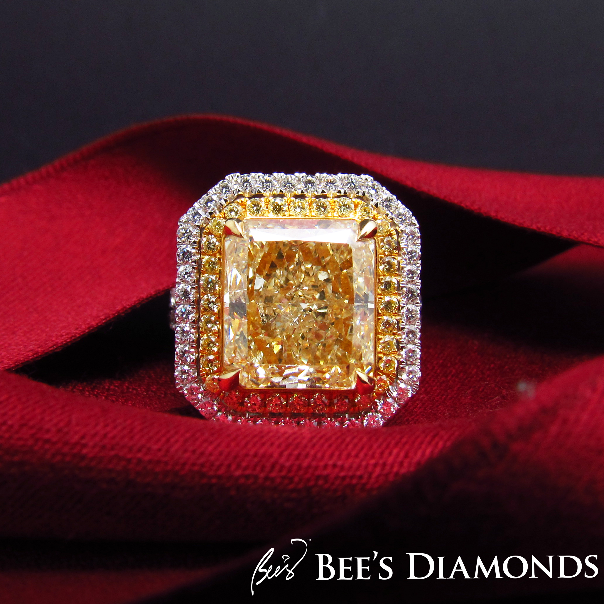 Large radiant cut, fancy yellow diamond ring | Bee's Diamonds