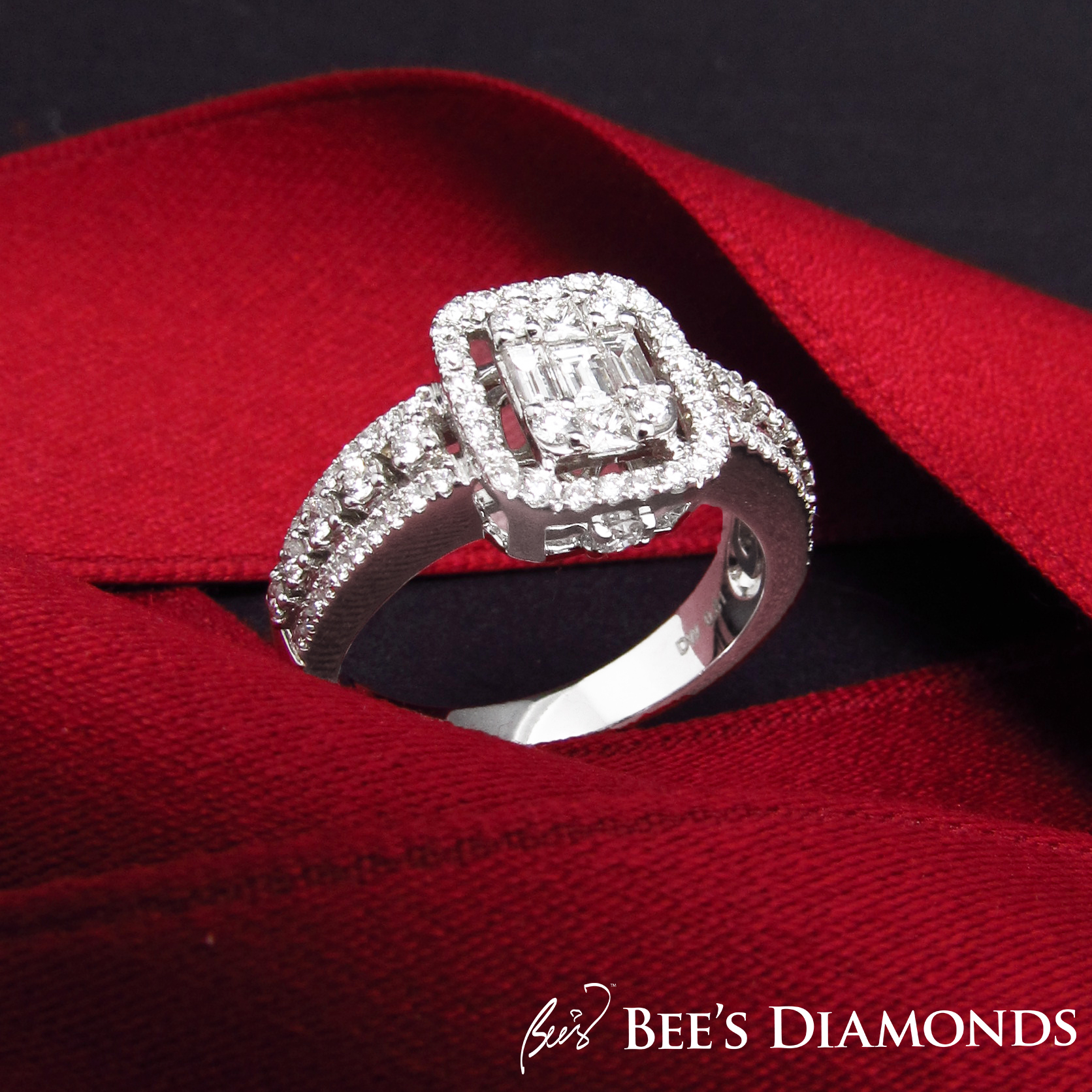Invisible setting diamond ring | Small princess and asscher cut diamonds