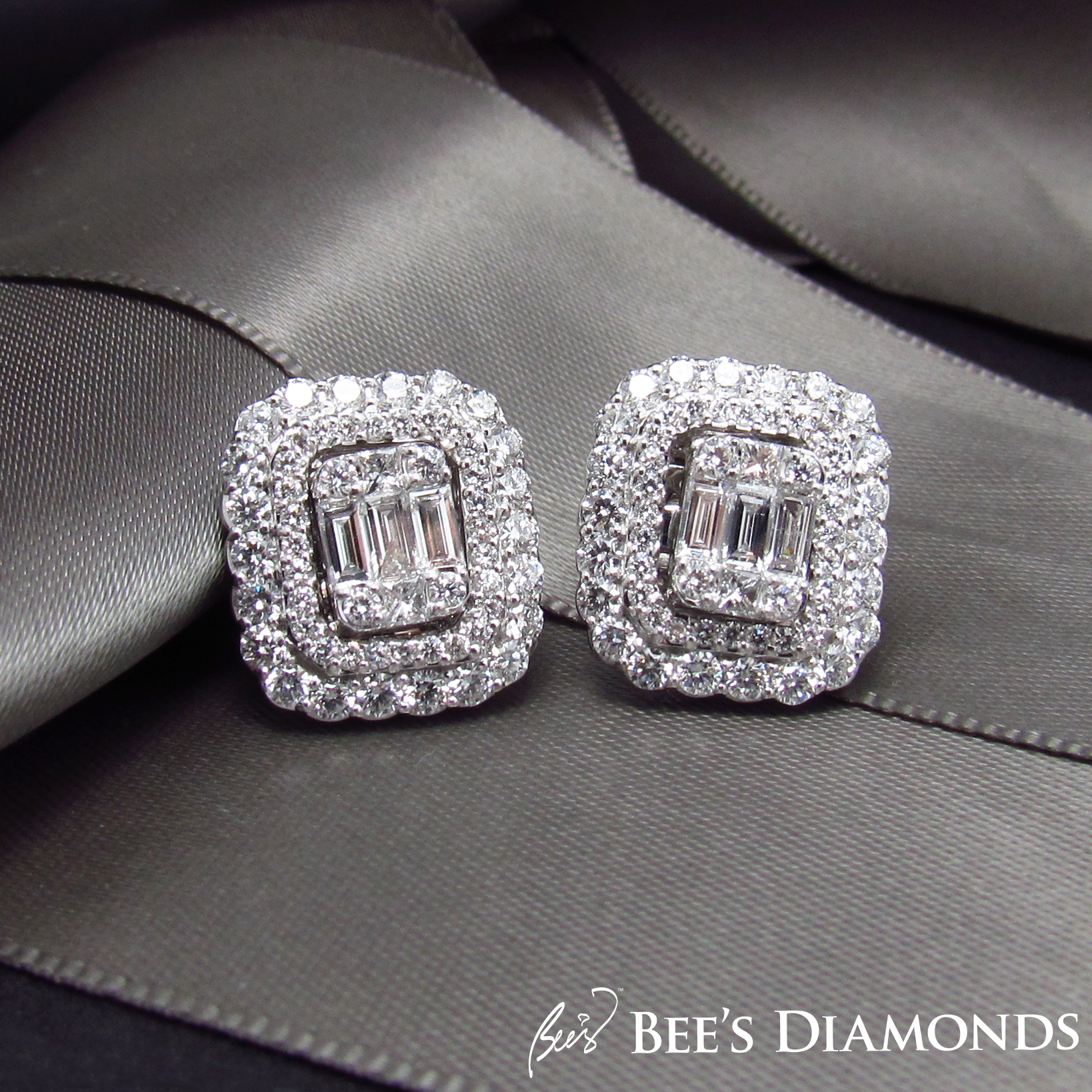 Rectangular, cusom made diamond earrings halos | Bee's Diamonds