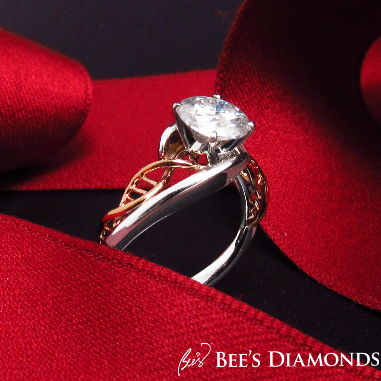 A solitaire diamond ring with DNA helix design | Bee's Diamonds