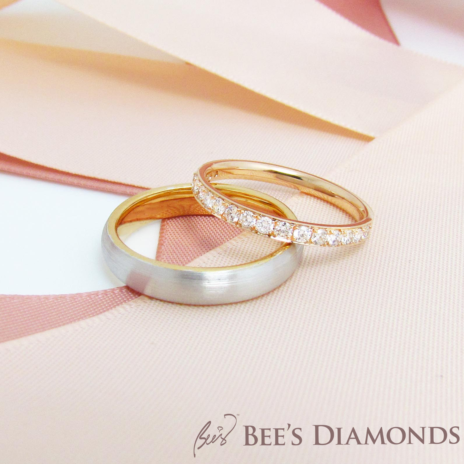 Mixture 18K white and rose gold wedding ring | Bee's Diamonds