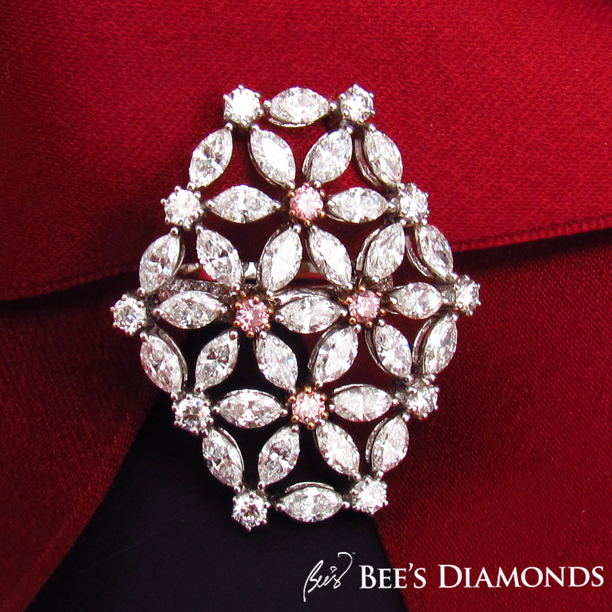 Fancy pink diamond floral cocktail ring | Bee's Diamonds