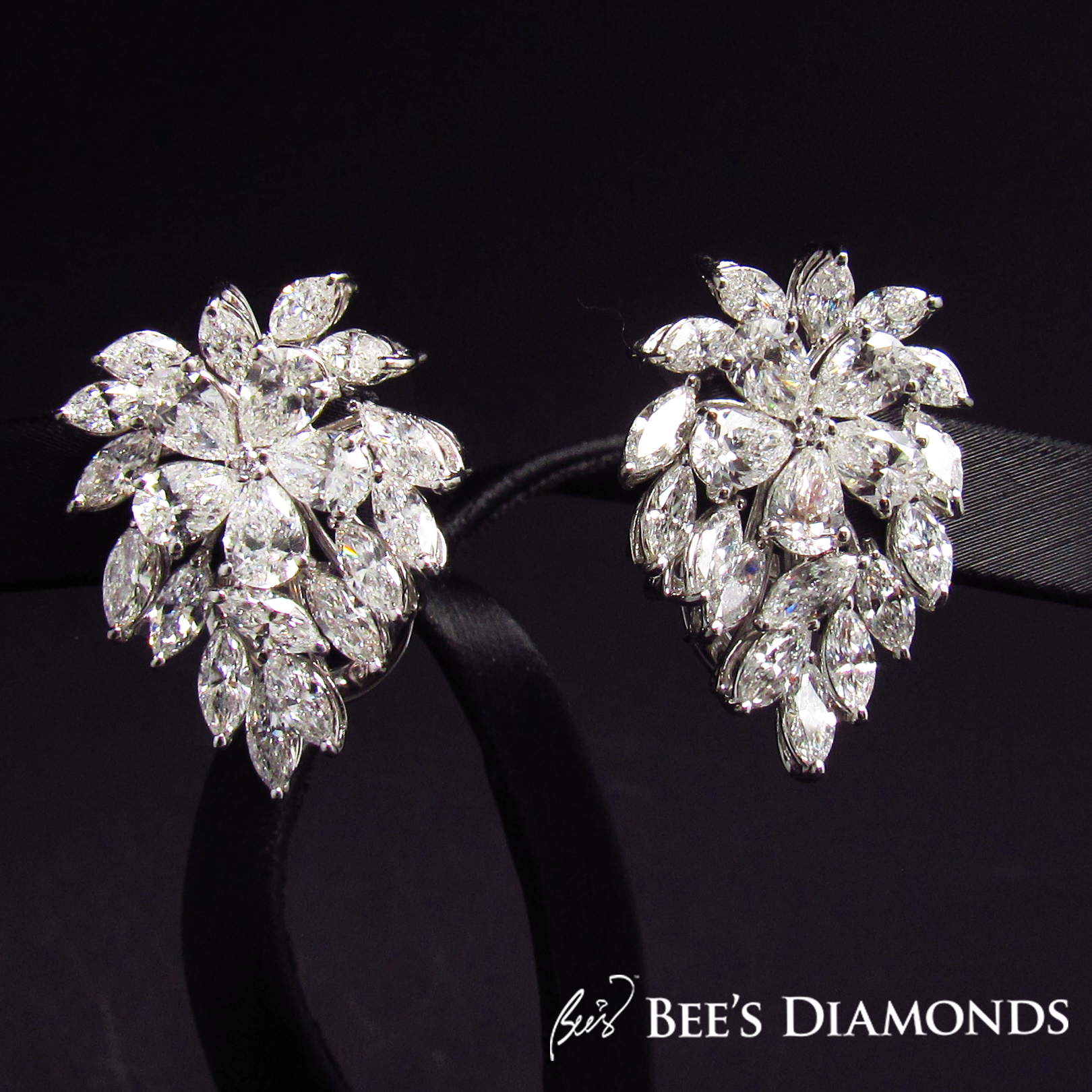 Cluster diamond earrings, fancy shapes | Bee's Diamonds