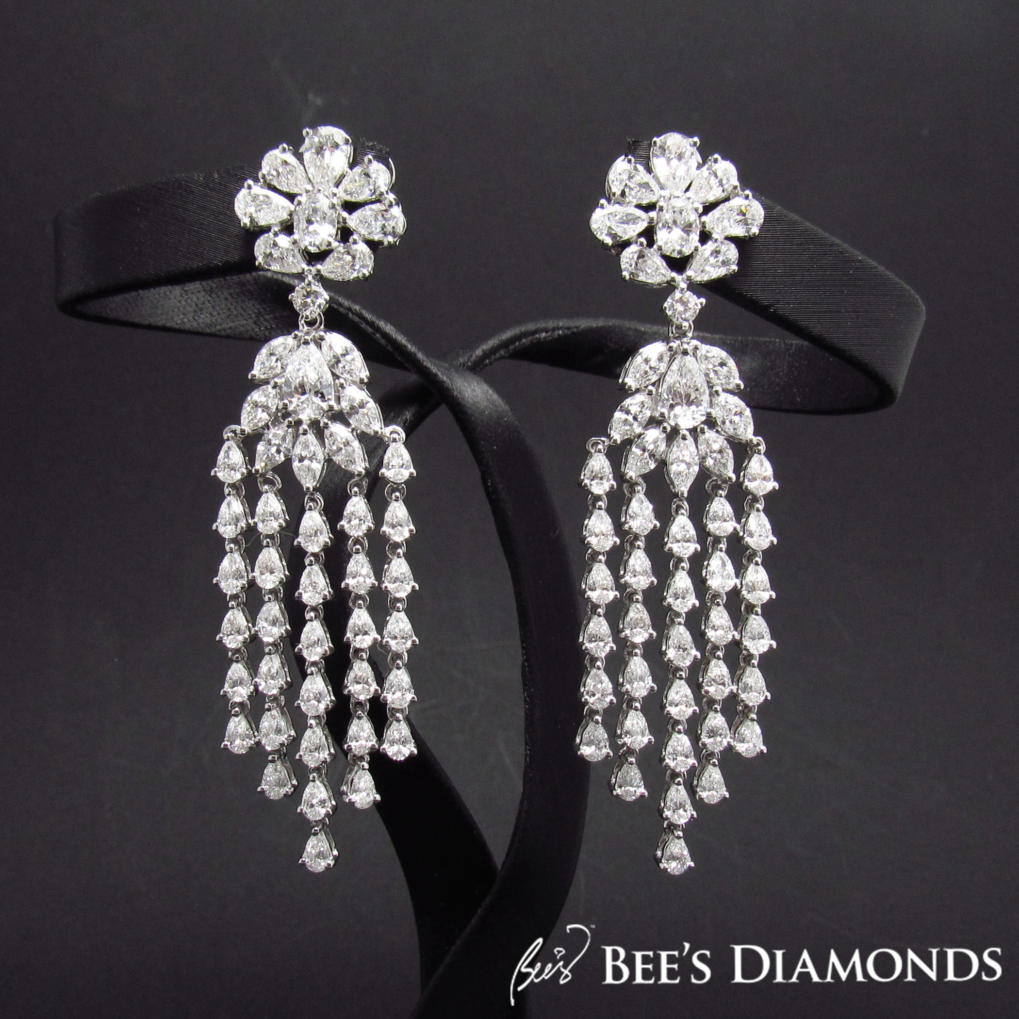 Glamourous diamond dangling earrings | Bee's Diamonds