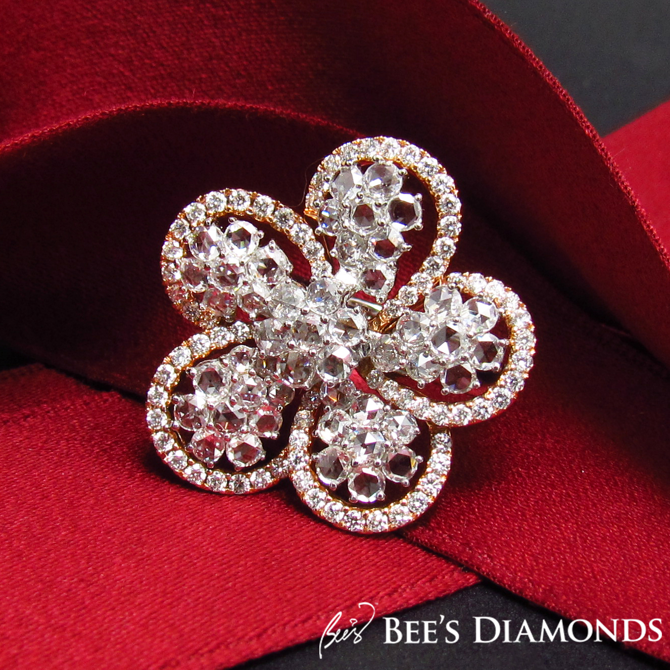 Rose cut flower, petal diamond ring | Bee's Diamonds