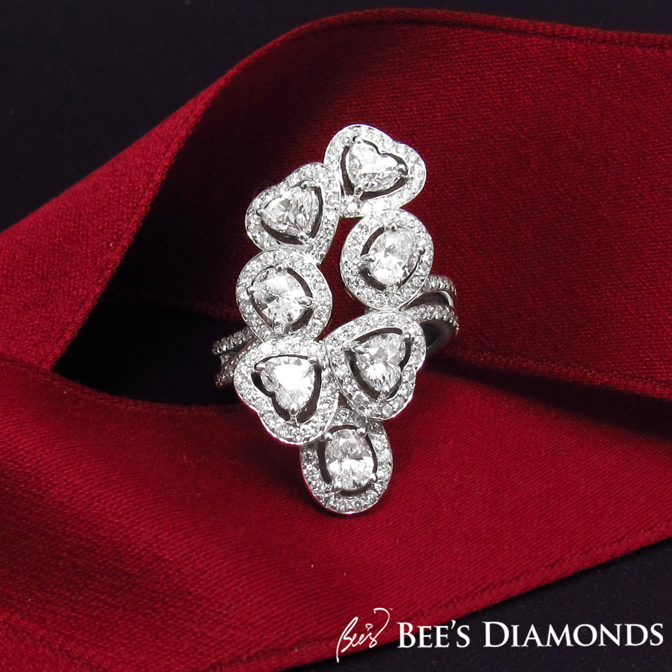 Large and appealing diamond cocktail ring | Bee's Diamonds