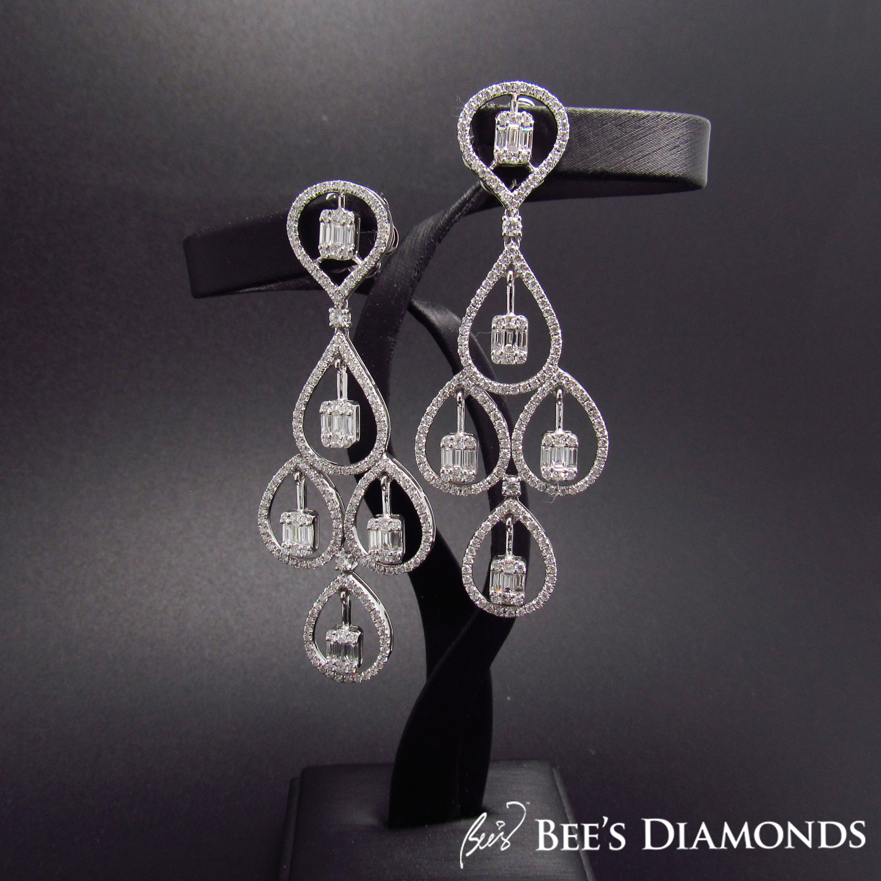 Dangling diamond earrings. | Bee's Diamonds
