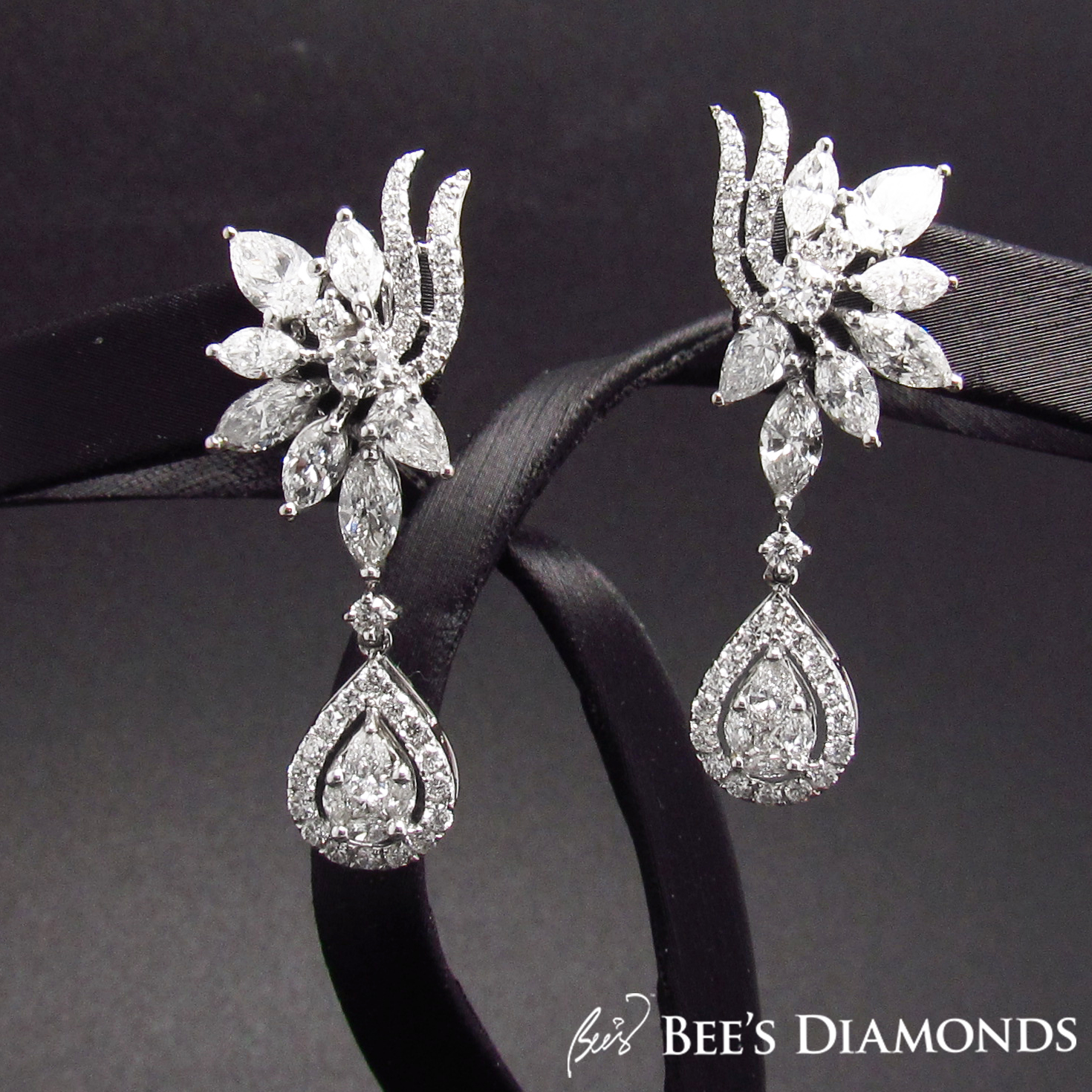 Marquise shaped diamond Earring | Bee's Diamonds