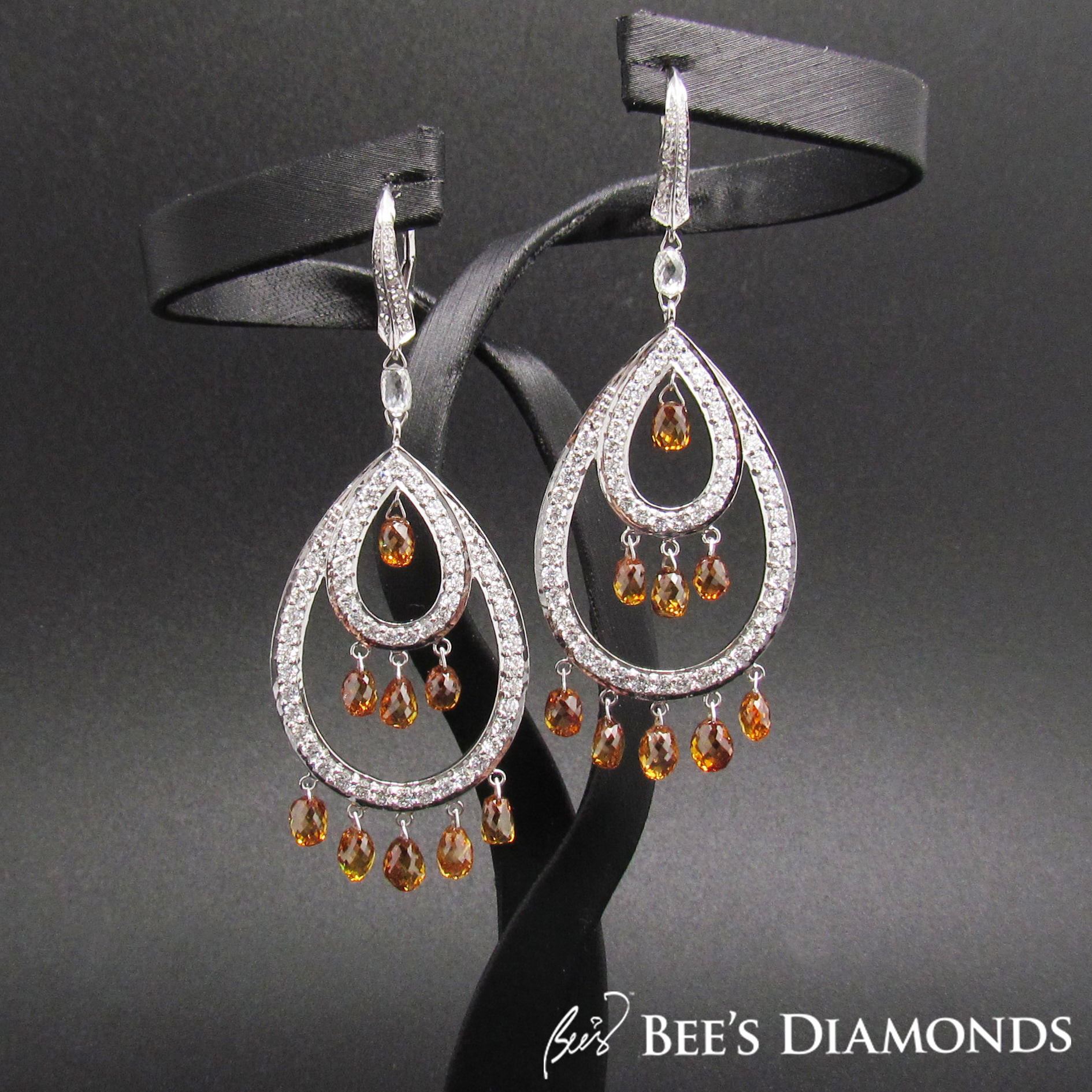 Brownish to orangy briolette diamonds earrings | Bee's Diamonds