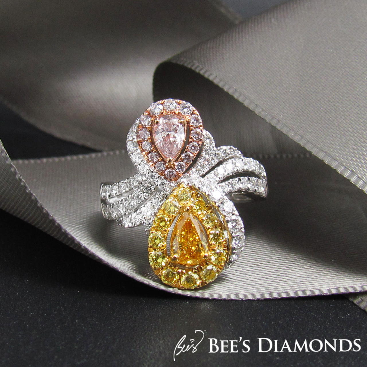 Pink and yellow pear shaped diamond rings | Bee's Diamonds