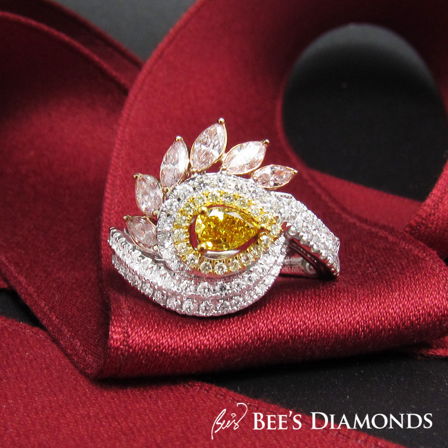Yellow and pink diamond ring marquise | Bee's Diamonds Hong Kong