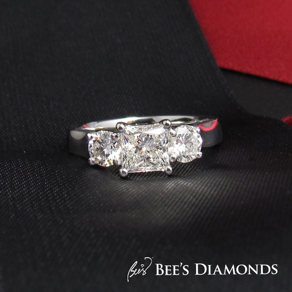 Bespoke three stones ring, princess and round | Bee's Diamonds