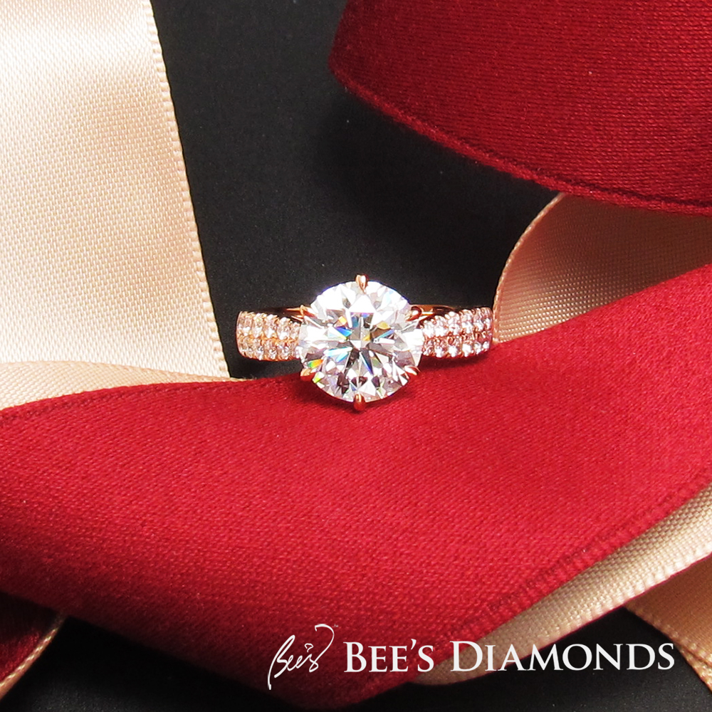 18K Rose gold engagement ring with diamond Hong Kong bespoke