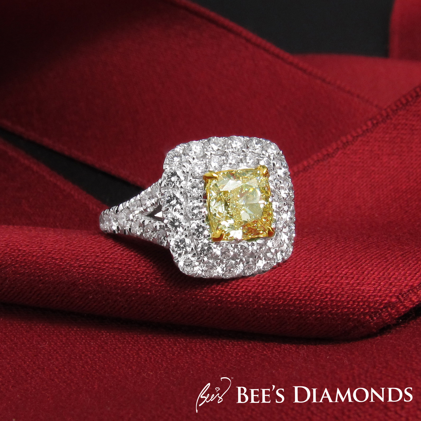 Fancy yellow, cushion cut diamond ring Tiffany, bespoke Hong Kong