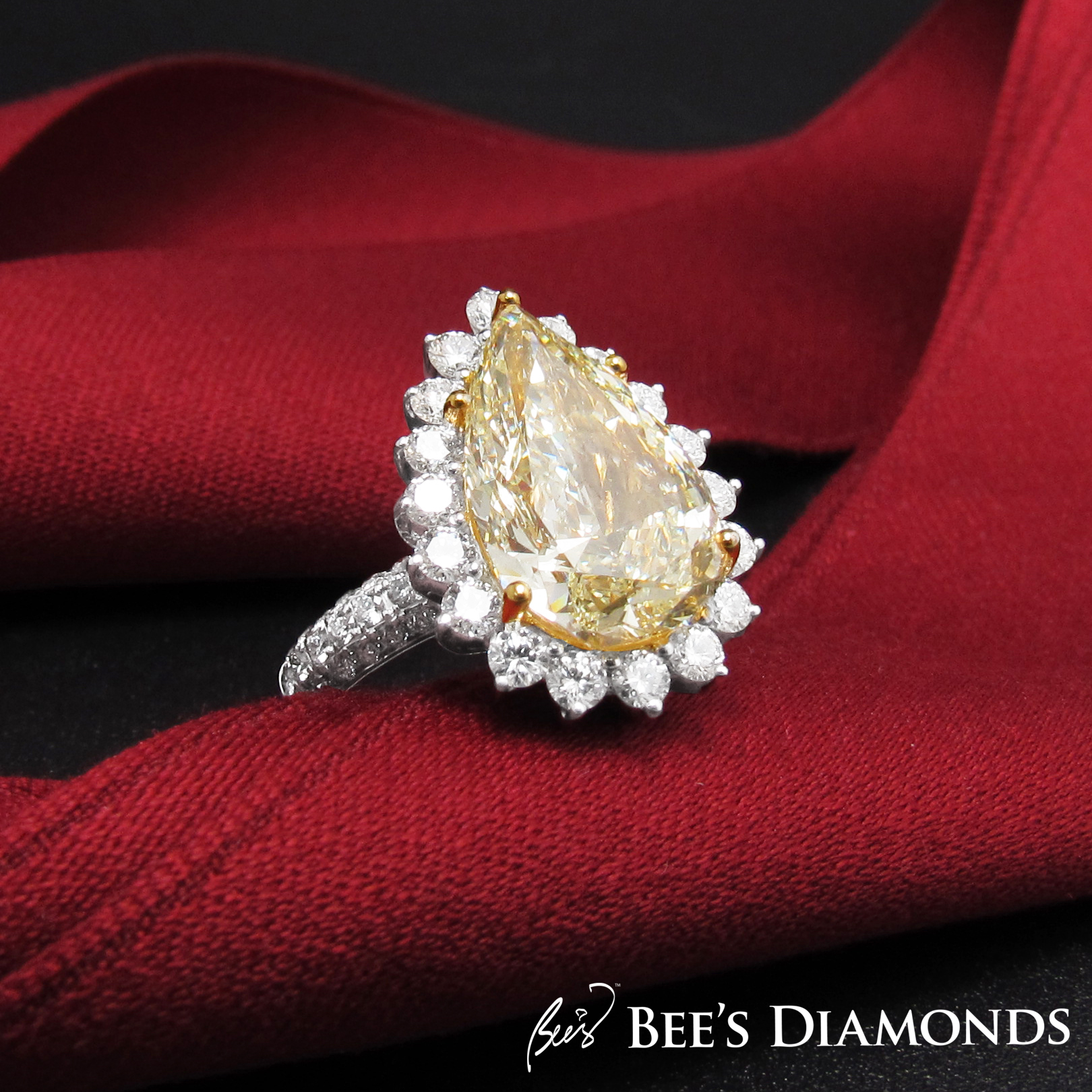 Large pear shape, fancy yellow diamond bespoke ring Hong Kong