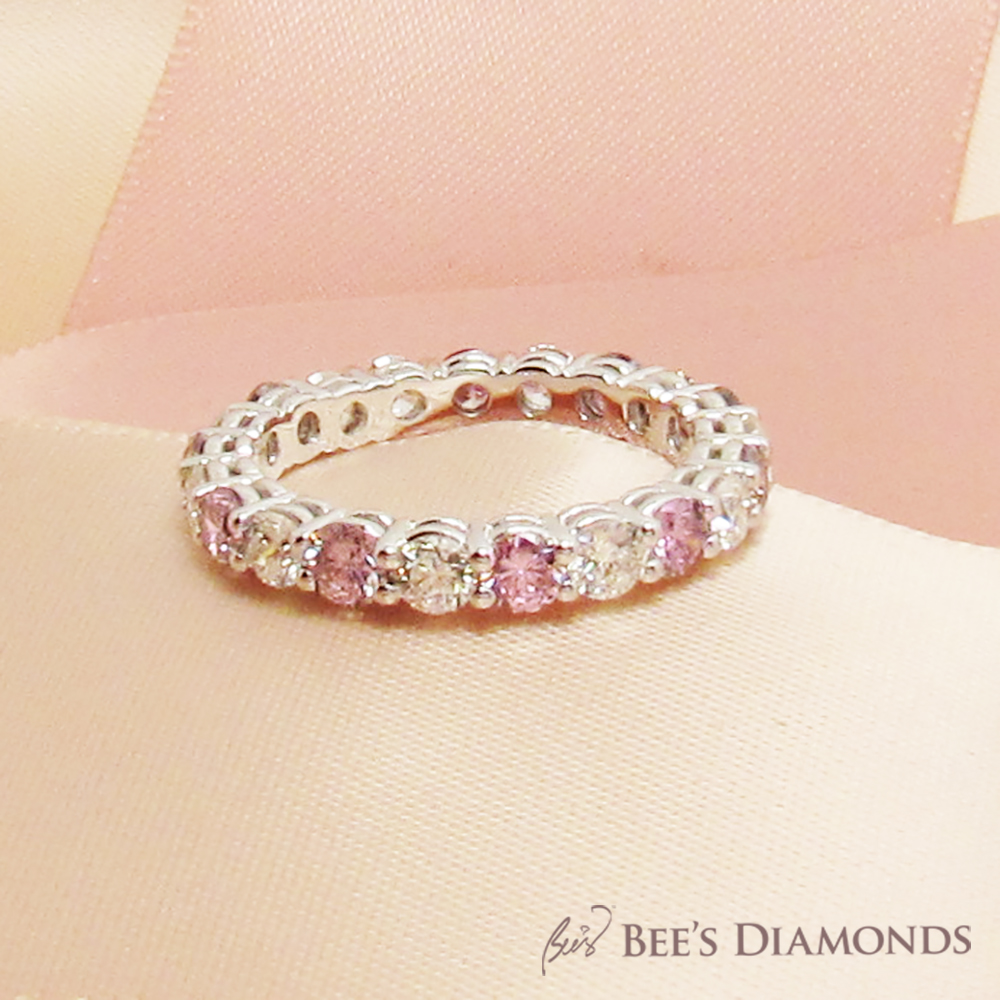 Bespoke Wedding band – Vintage, White Diamonds, Round, pink sapphire