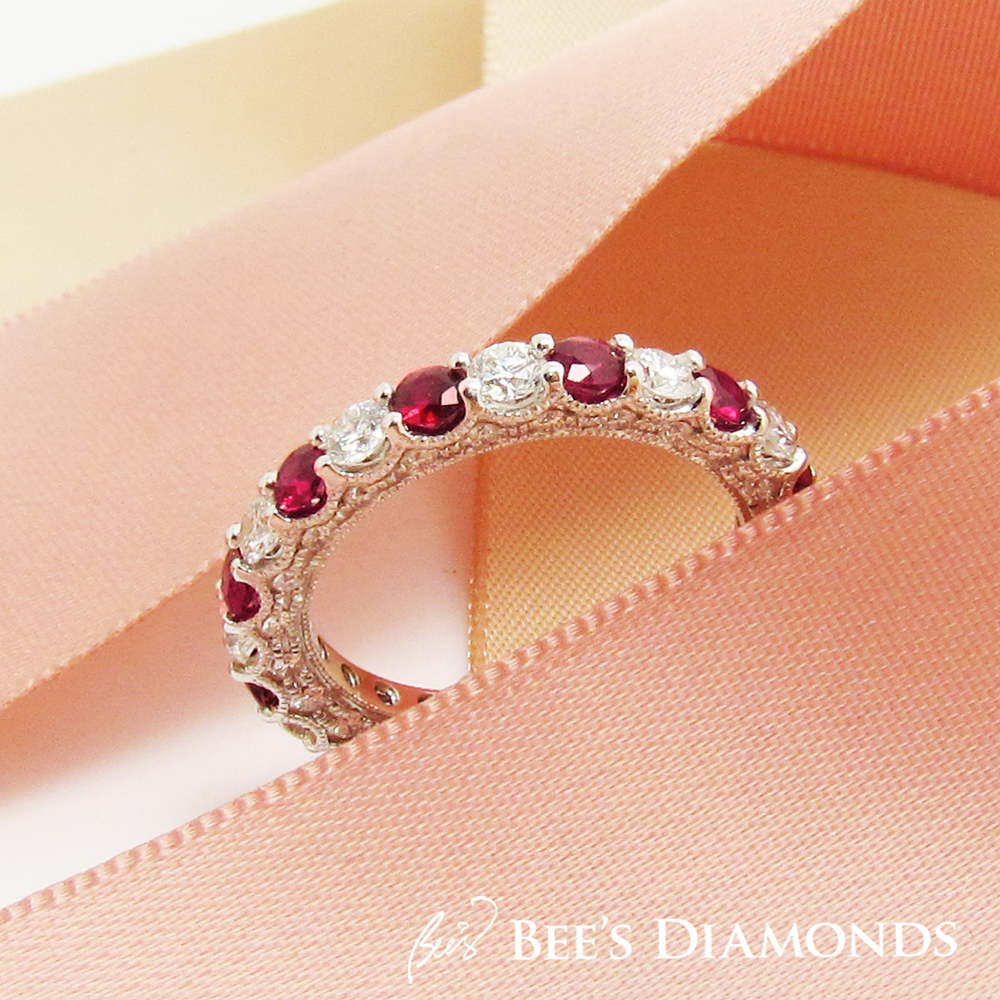 Bespoke Wedding band – Vintage, White Diamonds, Round, Ruby