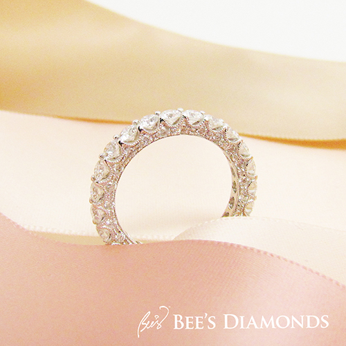 Bespoke Wedding band – Vintage, White Diamonds, Round