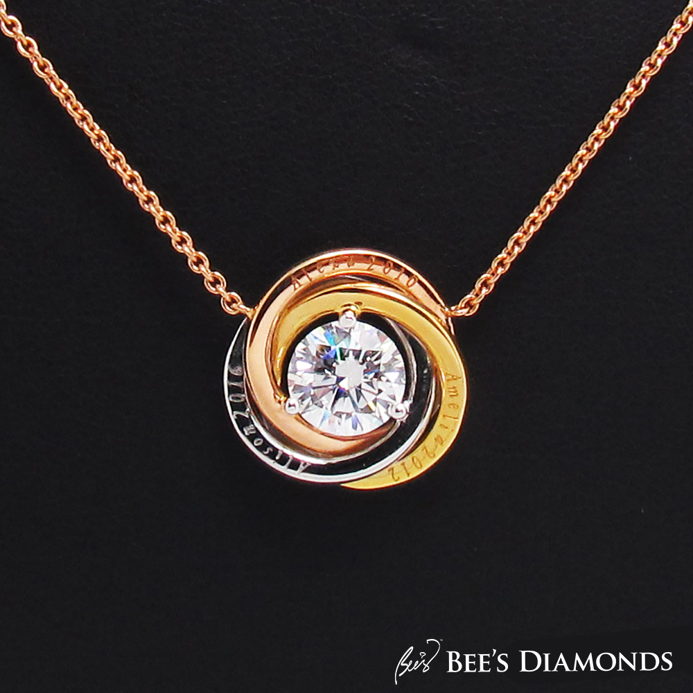Customized Round Diamond Pendant  with personalized names Hong Kong
